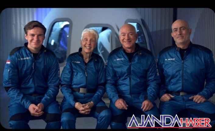 Jeff Bezos, 3 kişiyle birlikte uzaya çıktı…