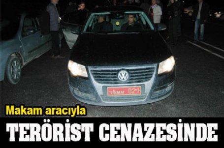 Teröristin cenazesine makam aracıyla katıldı