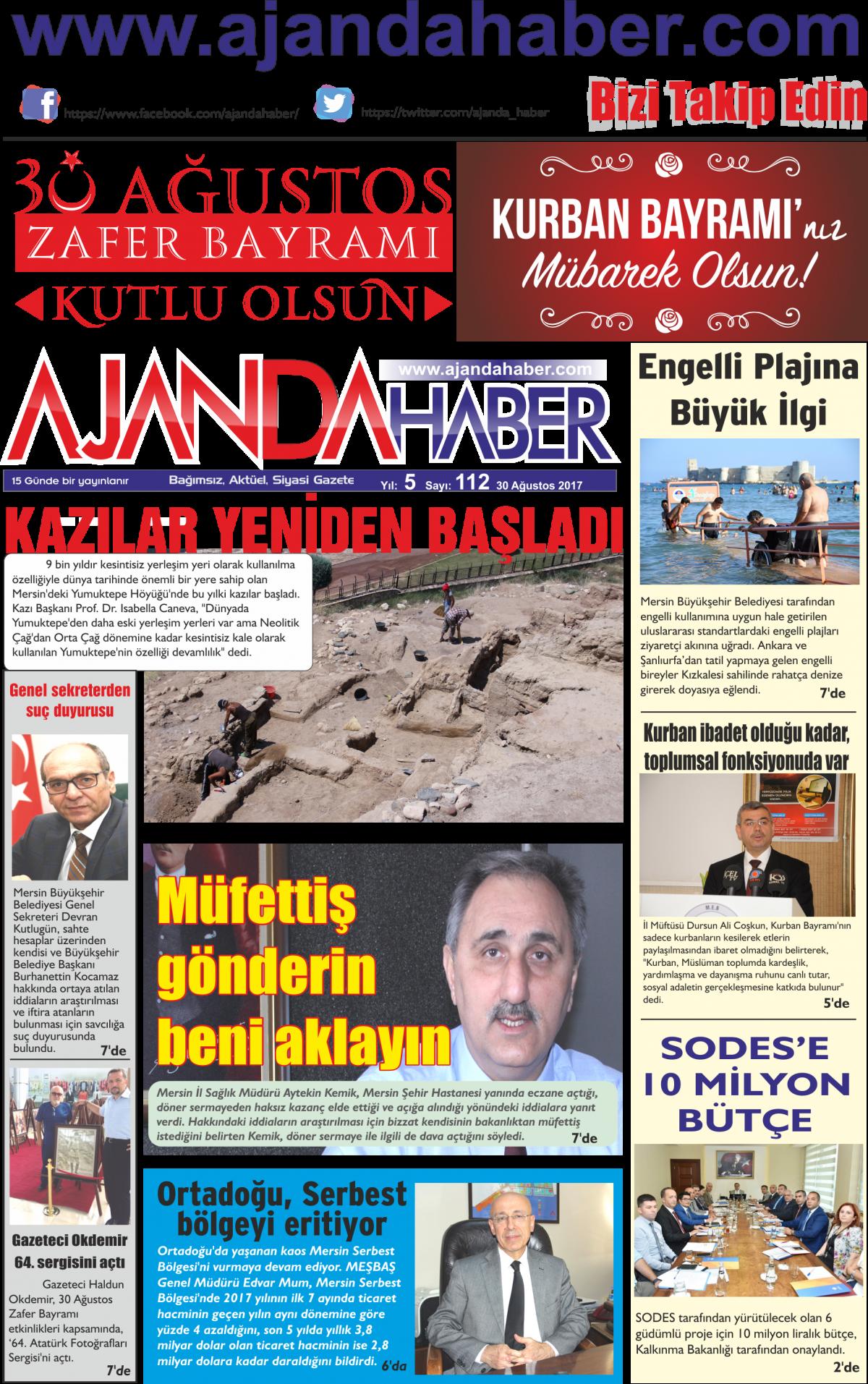 Ajanda haber mersin haberleri, mersin sondakika, ajandahaber, doğru haberin adresi - 04 Eylül 2017 Manşeti