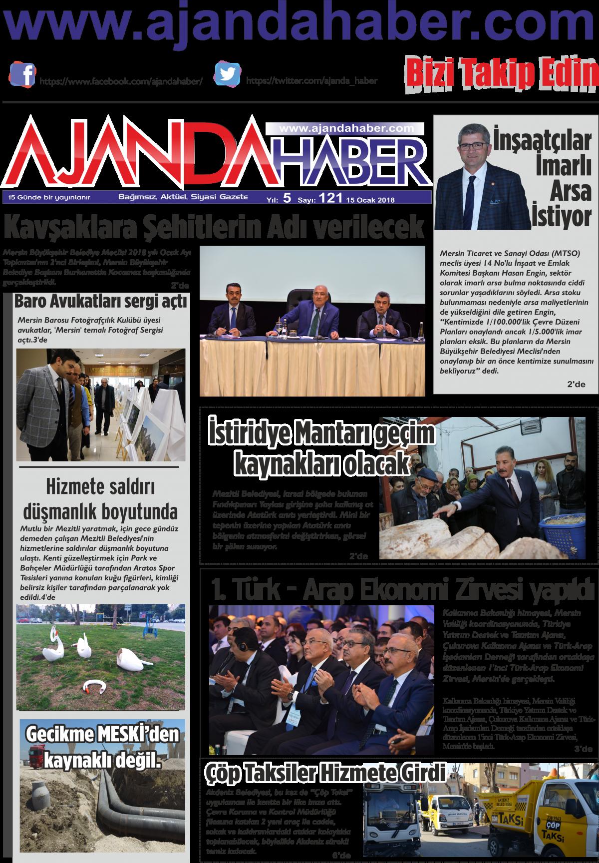 Ajanda haber mersin haberleri, mersin sondakika, ajandahaber, doğru haberin adresi - 18 Ocak 2018 Manşeti